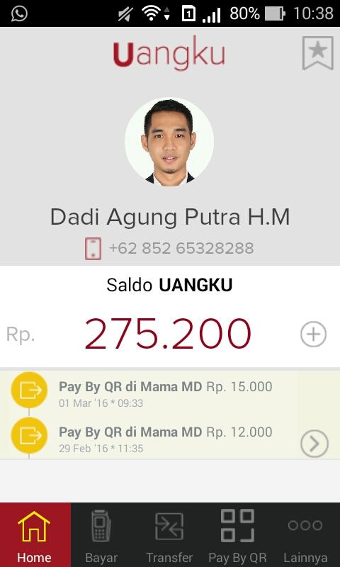 Tampilan menu Pay by QR pada Home Screen aplikasi Uangku
